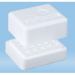 Sartstedt Styrofoam containers with lid, Dim: 85x100x65, format 5x4, 20 x 10.8mm holes, each