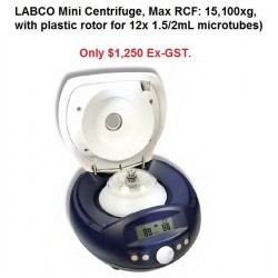 LABCO Mini Centrifuge, Max RCF: 15,000xg, with rotor  for 12x 1.5/2mL microtubes