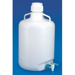 TARSONS  Polypropylene Carboy, 20L, autoclavable, supplied with polypropylene screw cap and stopcock