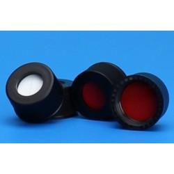 "Grace/Finneran-10-425mm Black Open Hole Polypropylene Closure, Red PTFE/Silicone Septa, 0.060""-pkt/100"