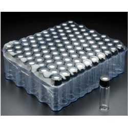 'FINNERAN-1/2 Dram (2mL), Amber 12x35mm Vial, 8-425mm Thread, Black Polypropylene Solid Top Cap, PTFE/F217 Lined-pkt/100