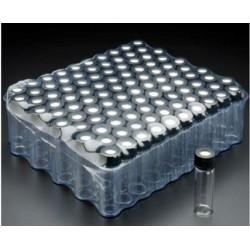 FINNERAN-1 Dram (4mL), Clear 15x45mm Vial, 13-425mm Thread, Black Polypropylene Solid Top Cap, PTFE/F217 Lined-pkt/100