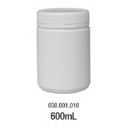 LABCO 600mL HDPE Storage Conatiners with Screw Lid, White, Neck: 83mm, Diam: 90mm, Height: 130mm, each