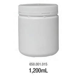 LABCO 1.2L HDPE Storage Conatiners with Screw Lid, White, Neck: 110mm, Diam: 116mm, Height: 136mm, each