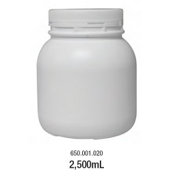 LABCO 2.5L HDPE Storage Conatiners with Screw Lid, White, Neck: 110mm, Diam: 155mm, Height: 177mm, each