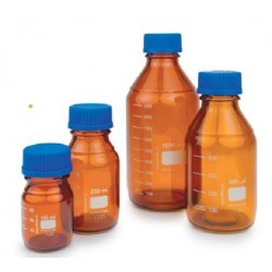 Technos 100mL Technosicate Amber Reagent bottle with Graduated, GL45 Screw Cap & Pouring Ring