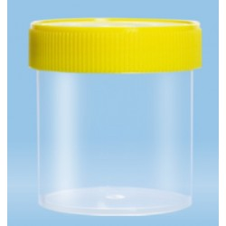 250mL-Sarstedt-containers, flat bottom, with label, 70x78mm, yellow cap, sterile-pkt/240