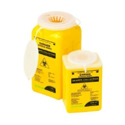 Terumo 1.4L Yellow Bio-Hazard Sharps Container with Clip Lid, each