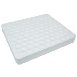 Aptaca Polystyrene foam test tube rack, 205W x 205L x 28mmH, 16mm holes, hole depth: 23mm, 100 positions, each