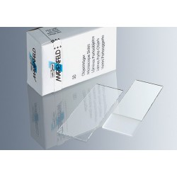Marienfeld High Quality Microscope Slides, 76.2 x 25.4 mm, Frosted 1 end 1 Side, 1.0 mm thick, pre-cleaned, Box/50