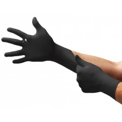 Ansell Microflex Nitrile Black Gloves, fully textured, no natural rubber latex and powder-free, Small, Box/100