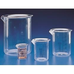 Kartell 25mL PMP (TPX®) Beaker, clear, blue grad, low form with spout, autoclavable, Class B, each