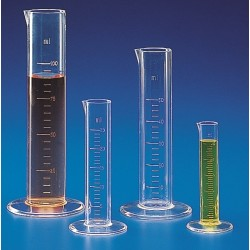 Kartell 10mL PMP (TPX®) Measuring cylinder, clear graduations, short form with spout, round base, autoclavable, Class B, each