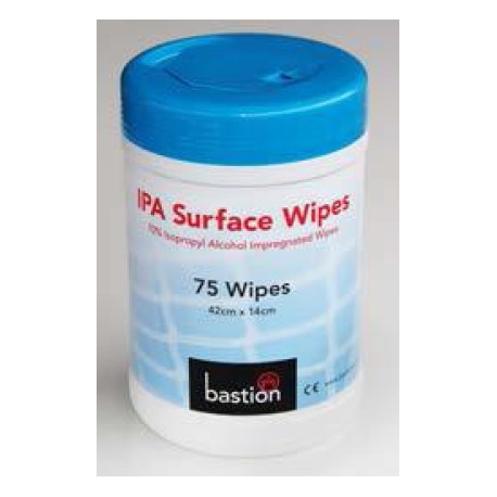 Bastion IPA Surface Wipes, 75 Sheets, 42cm x 14cm, Carton/12 Canisters
