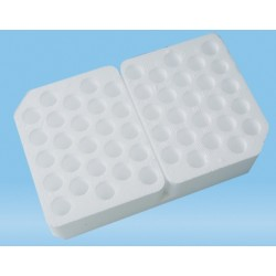 Sartstedt Styrofoam containers without lid, (127Wx205Lx46H)mm, 5x10 hole format x 17mmd holes, holds 50 tubes