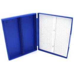 Heathrow Scientific 100 Blue Plastic Slide Box with Hinge and Latch Lock, 210x169x37 mm
