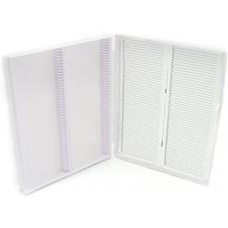 Heathrow Scientific 100 White Plastic Slide Box with Hinge and Latch Lock, 210x169x37 mm