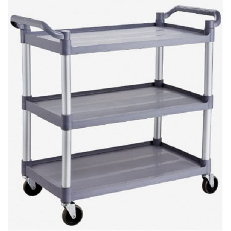 Technos Laboratory Trolly, 3 Plastic Shelves with Aluminium Frame with cators and brakes