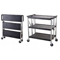 Technos Folding Laboratory Trolly, 3 Plastic Shelves with Aluminium Frame, Cators & Brakes